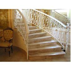Лестница-83 Радиусная мраморная лестница из кофейного мрамора «Дайно реале» (Италия)