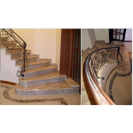 Лестница-85 Мраморная лестница из мрамора «Имперадор лайт» (Испания)