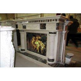 Каминный портал из мрамора Имперадор дарк и Крема марфил