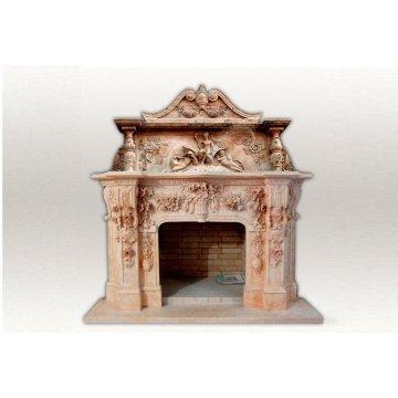 Барочный камин из мрамора с элементами резьбы  в античном стиле