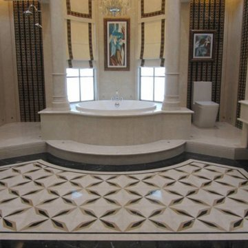 Ванна из белого мрамора изготовлена по индивидуальному заказу